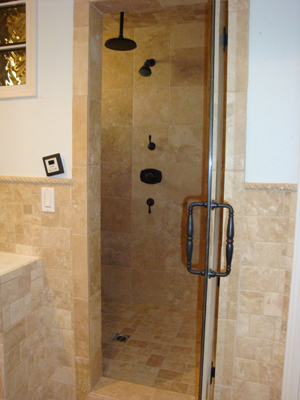 travertine shower and bathroom flooring